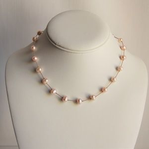 Jewelry - Vintage Lustrous Pink Fresh-water Pearl  Necklace